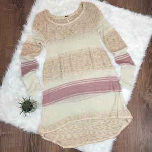 Free People Long Striped Crochet Sweater M